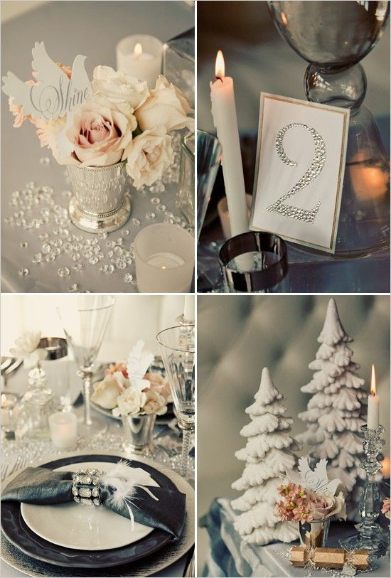 51 best silver white wedding decoration ideas images on pinterest silver pink vintage white and black winter wedding ideas junglespirit Gallery