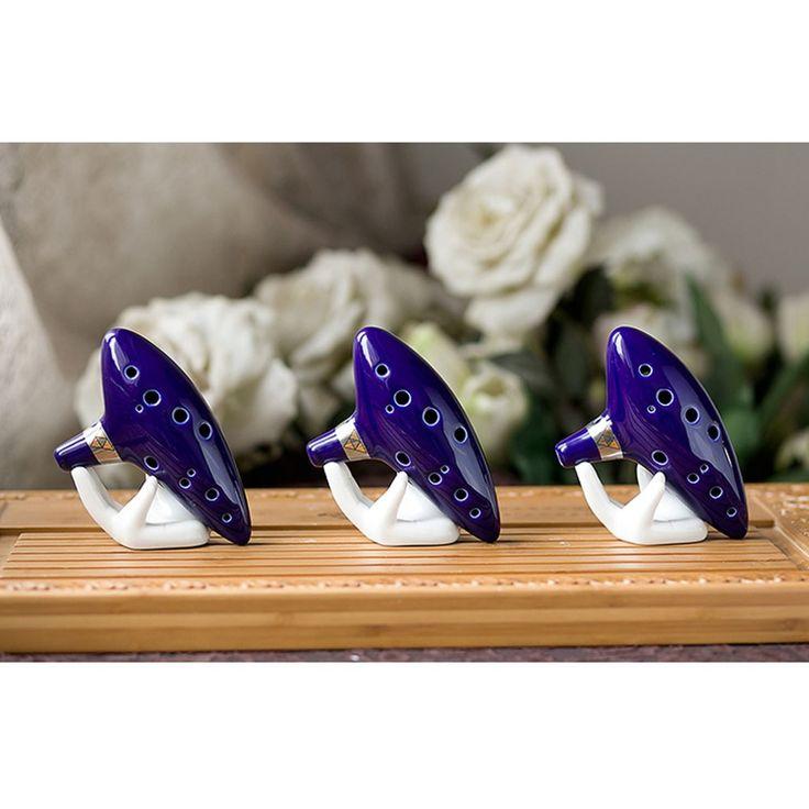 1 sztuk 12 Hole Ocarina Ceramiczne Alto C Legend of Zelda Ocarina Flet Instrument Niebieski z pudełkiem Drop shipping