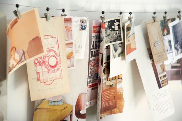 Hanging photos: Desks Area, Photo Ideas, Clotheslines Display, Kids Artwork, Cute Ideas, Hanging Photo, Art Display, Awesome Ideas, Creative Inspiration