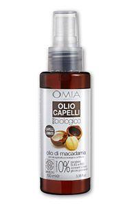 OMIA Olio Capelli Eco-Biologico è un preparato trattante specifico per capelli a base di Olio di Macadamia da coltivazione biologica certificata. L'Olio di Macadamia dona ai capelli idratazione e nuova luminosità.
