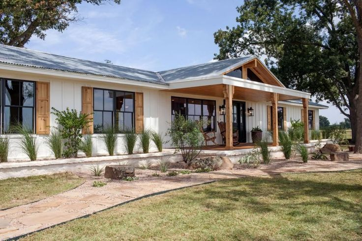Joanna and Chip transformed a crumbling and practically abandoned old house in Marlin, Texas – a rural community about 30 miles outside Waco – into this stylish and attractive home for a family of three. New exterior enhancements provide plenty of curb appeal although, with the house located on a 2000-acre ranch, there's not a curb in sight!