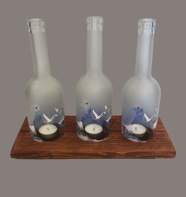 Grey Goose Bottle & Wood Candle Holder