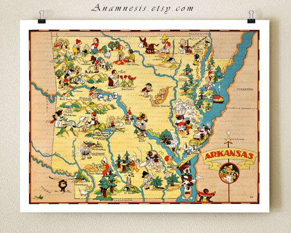 MAP OF ARKANSAS vintage 1930's picture map to by AnamnesisPrints