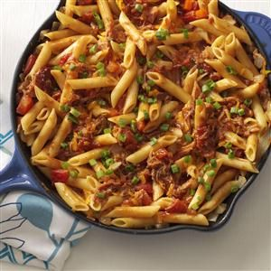 Barbecue Pork and Penne Skillet Recipe -I'm the proud mother of wonderful and active children. Simple, delicious and quick meals like this are perfect for us to enjoy together after errands, school activities and soccer practice are over. —Judy Armstrong, Prairieville, Louisiana