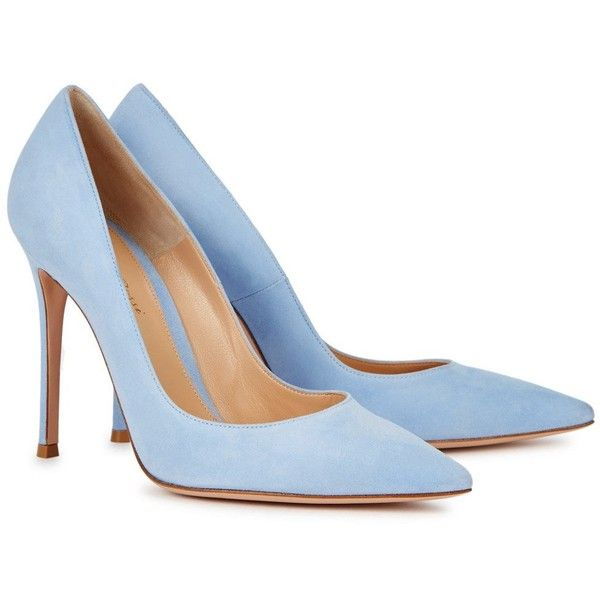 Gianvito Rossi Ric Blue Suede Pumps - Size 7 ($630) ❤ liked on Polyvore featuring shoes, pumps, suede pumps, high heeled footwear, blue pointed toe pumps, high heel pumps and high heel shoes