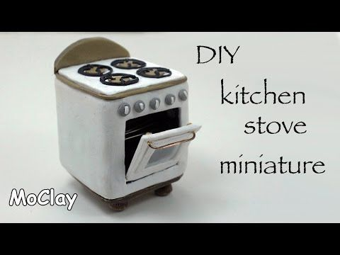 DIY How to make a dollhouse stove - Polymer clay tutorial - YouTube