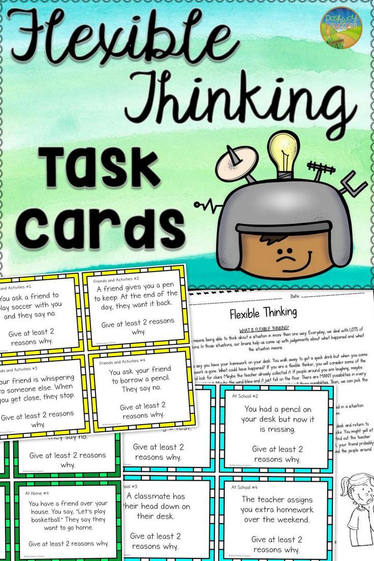 Flexible thinking task cards. Awesome resource for rigid thinkers.