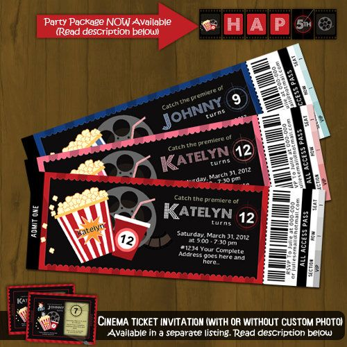 Movie Night Ticket - Printable Birthday Invitation Card DIY - create your own movie ticket