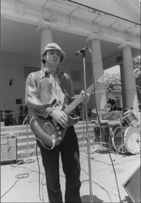 Stevie Ray Vaughan performs at a Freddie King concert at Lee Park 1980.