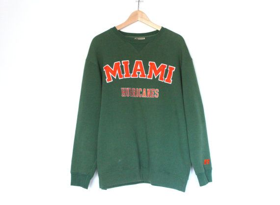University of Miami Hurricanes Sports Team Sweatshirt Unisex Size Large Green and Orange  LETS HEAR TOUCHDOWN TOMMY... While remaining warm and good