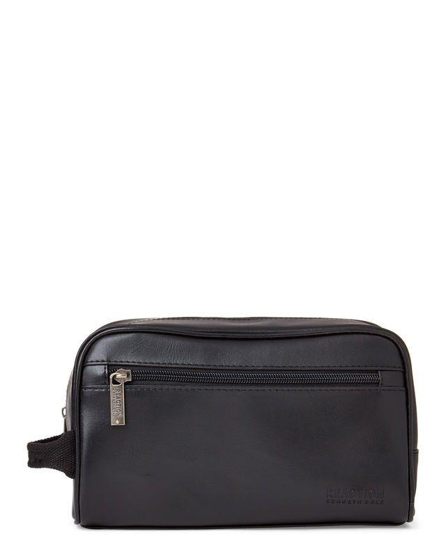 Macy/'s faux leather blue nylon Dopp kit shaving Bag case Toiletry Pouch travel