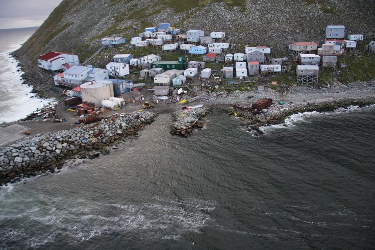 The native village of Little Diomede sits on the border of Russia and the United States. (U.S. Coast Guard Photo by Petty Officer Richard Brahm)