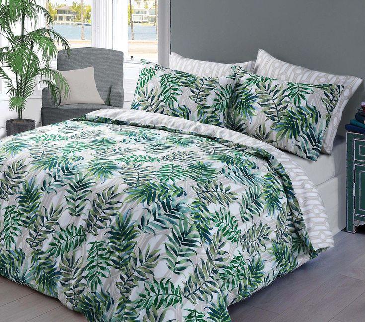 Palm blad groen Dekbedovertrek beddengoed Set  Happy