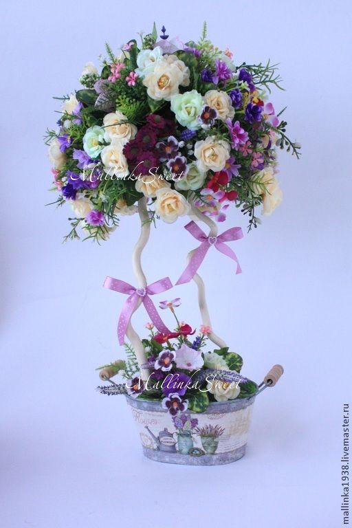 """Топиарий, дерево счастья """"Настроение"""" - фиолетовый,топиарий,топиарий дерево счастья"""