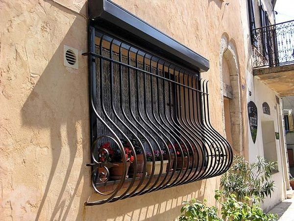36 best wrought iron window images on pinterest wrought for Window protector designs