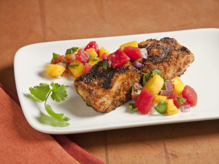 Blackened Mahi Mahi with Mango Salsa! This is so good, but I used Pineapple instead of the Mango and it was really good!