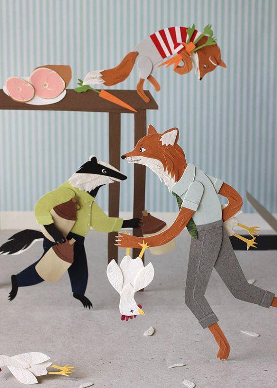 Fantastic Mr. Fox Cut Paper Print by Roadside Projects $15  #nursery #prints #fox