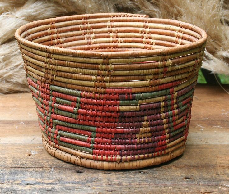 Vintage Coil Woven Basket, Southwestern Basket, Colorful Southwestern Basket by PastClassics on Etsy https://www.etsy.com/listing/460065620/vintage-coil-woven-basket-southwestern