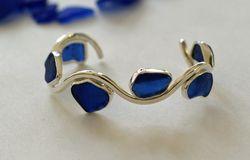 Blue Sea Glass Wave Bracelet