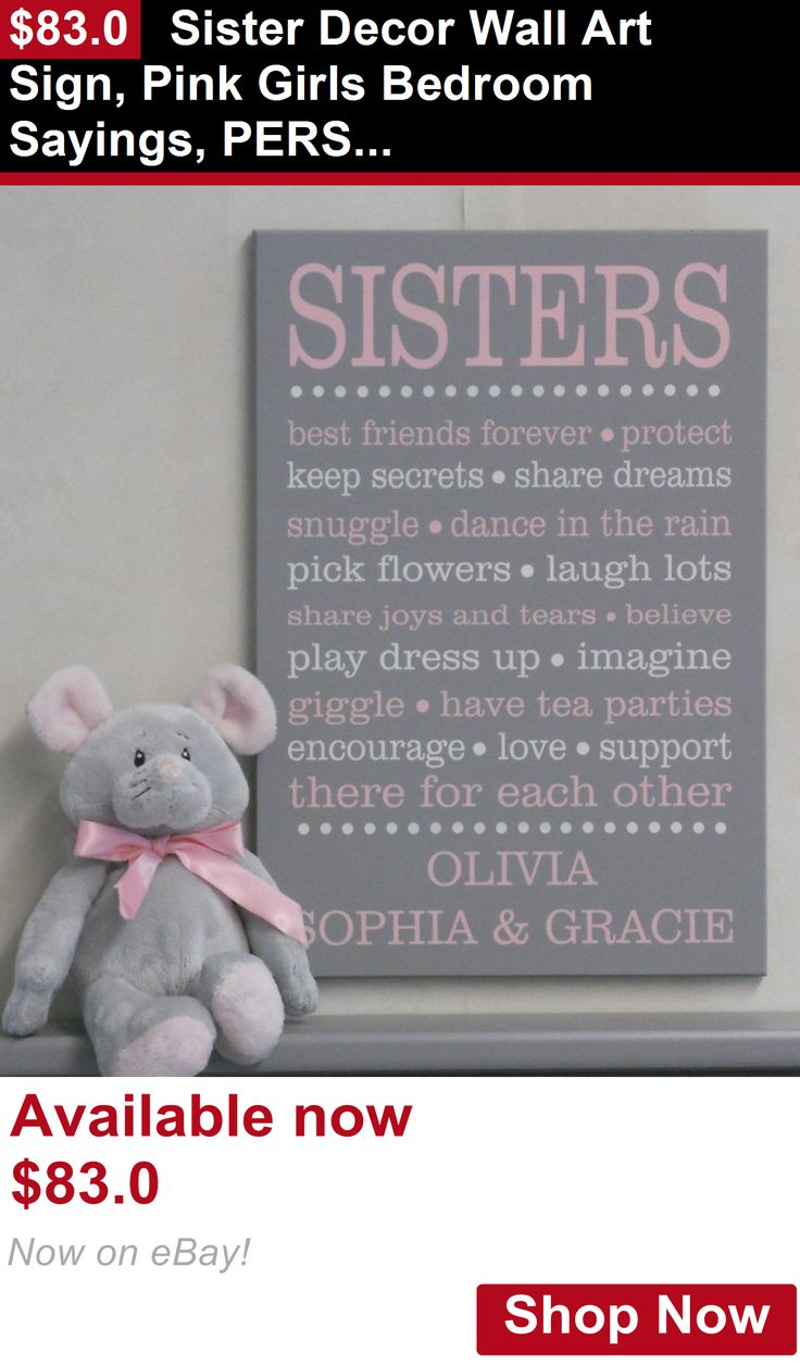 Other Nursery Wall Decor: Sister Decor Wall Art Sign, Pink Girls Bedroom Sayings, Personalized With Names BUY IT NOW ONLY: $83.0
