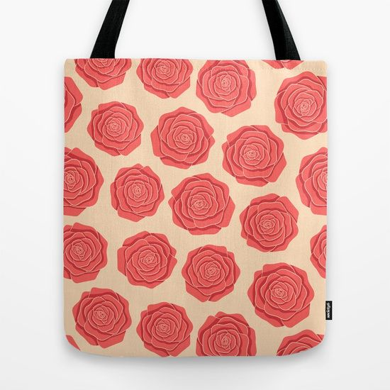 Roses Pattern Tote Bag #roses #flowers #art #illustration #botanical #nature #red #blossom #floral #faerieshop #pink #pattern #beige #delicate #cute #pastel #trendy #girly #girlish #romantic #vintage #cool #accessories #society6 #bag