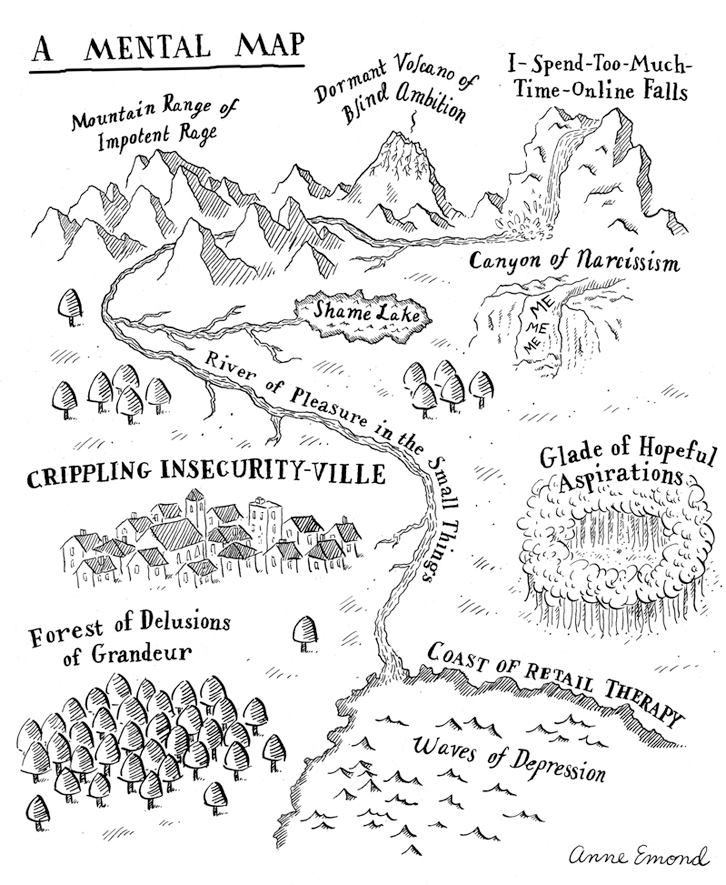 Anne Emond is a talented writer-illustrator who took a fun-jibe at the inner-workings of a writer's mind, by creating a 'Mental Map' that charts everything from the 'Mountain range of Impotent Rage' to the 'Canyon of Narcissism' and the 'Forests of Delusions of Grandeur.'