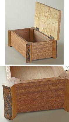 Keepsake box made with natural-edge cherry legs, mahogany sides, and bird's-eye maple top.