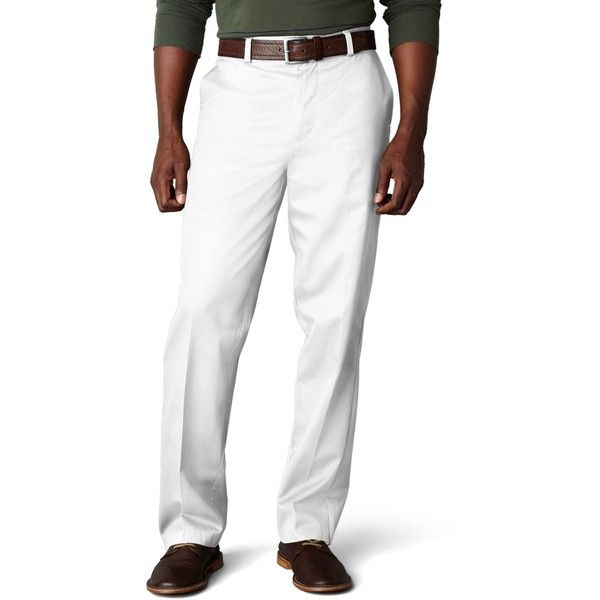 Dockers Signature Khaki Classic Fit Flat Front Pants, Limited... ($30) ❤ liked on Polyvore featuring men's fashion, men's clothing, men's pants, men's dress pants, white, mens khaki pants, mens flat front dress pants, mens flat front khaki pants, mens white dress pants and dockers mens pants