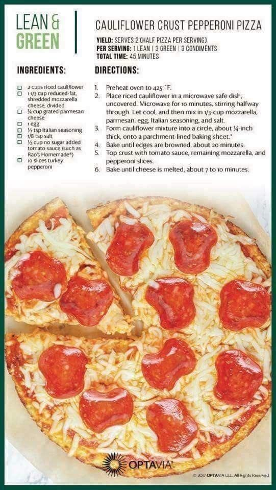 Lean And Green Cauliflower Crust Pizza Lean Meals Lean And Green Meals Greens Recipe