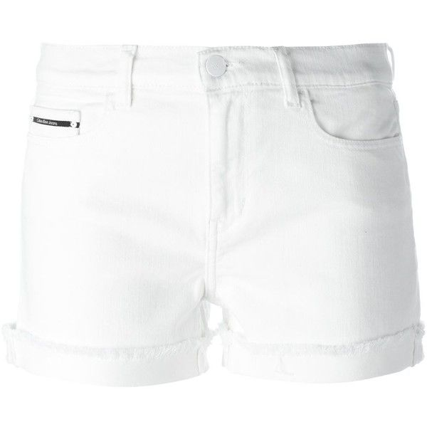 Calvin Klein Jeans Turn-Up Hem Denim Shorts (£61) ❤ liked on Polyvore featuring shorts, white, denim short shorts, jean shorts, short jean shorts, white shorts and denim shorts