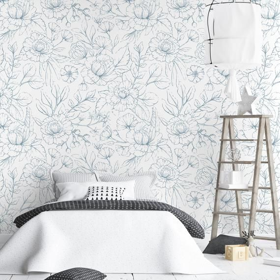 Floral Removable Wallpaper Vintage Flowers Self Adhesive Wall Etsy Removable Wallpaper Elephant Wall Decals Fabric Wall Decals