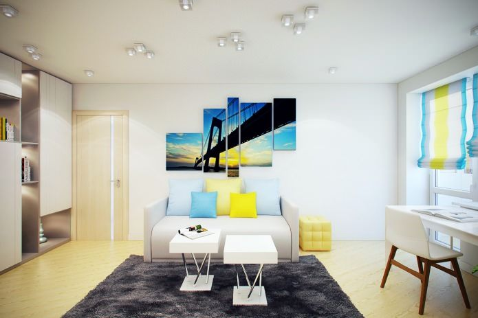 гостиная в интерьере 2-комнатной квартиры