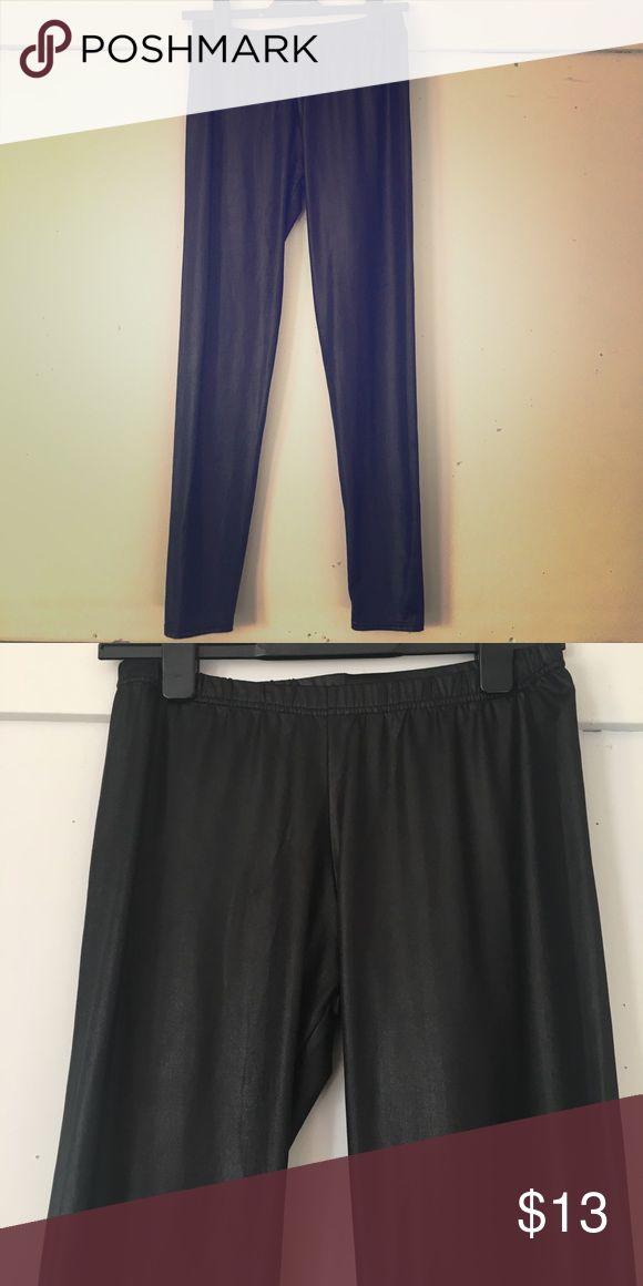 "Black ""wetlook"" leggings The fabric has a sheen that make them look wet. Elastic waist. Wore them for a Halloween costume. colorworx Pants Leggings"