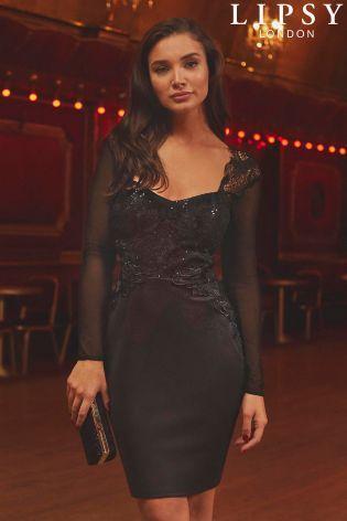 23e28335aa Lipsy Long Sleeve Artwork Mini Dress