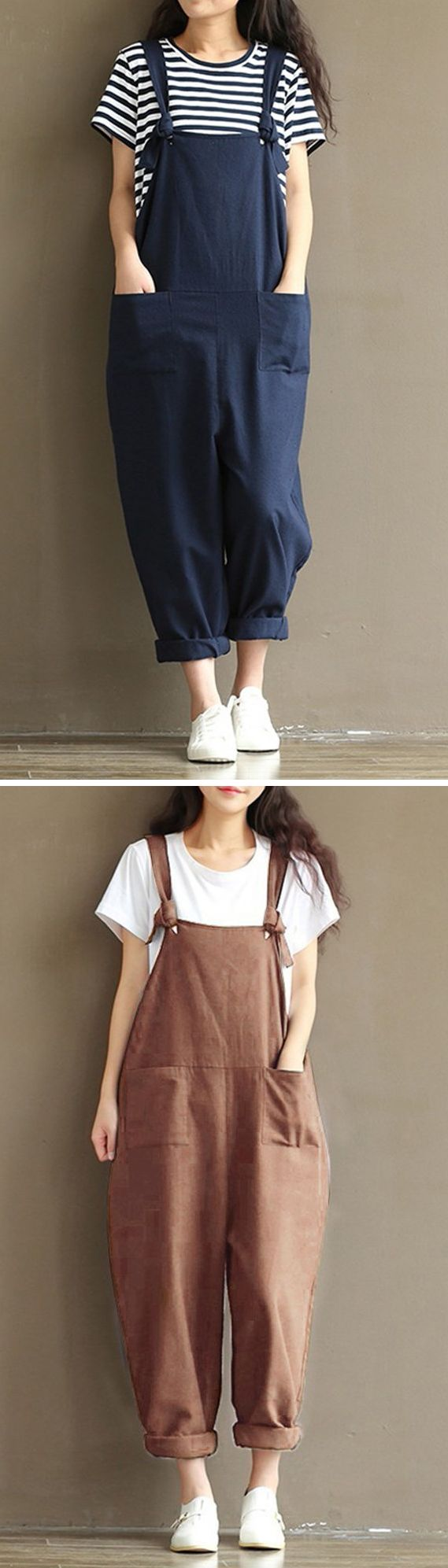 US$ 20.68 Casual Solid Strap Pocket Jumpsuit Trousers Overalls For Women