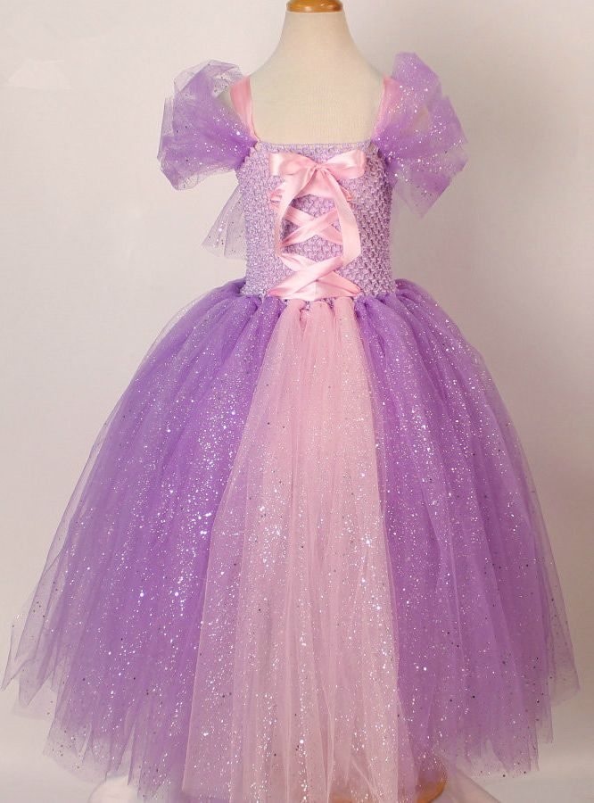 """Dresses Length:Ankle-Length Decoration:Bow Silhouette:Ball Gown Sleeve Style:Regular Material:Polyester,Voile,Nylon,Spandex,Mesh,Satin Pattern Type:Solid Collar:Shoulder less Sleeve Length(cm):Sleeveless Style:""""European and American Style Department Name:Children Fabric Type:Tulle Decoration:Ribbons Color:Purple"""