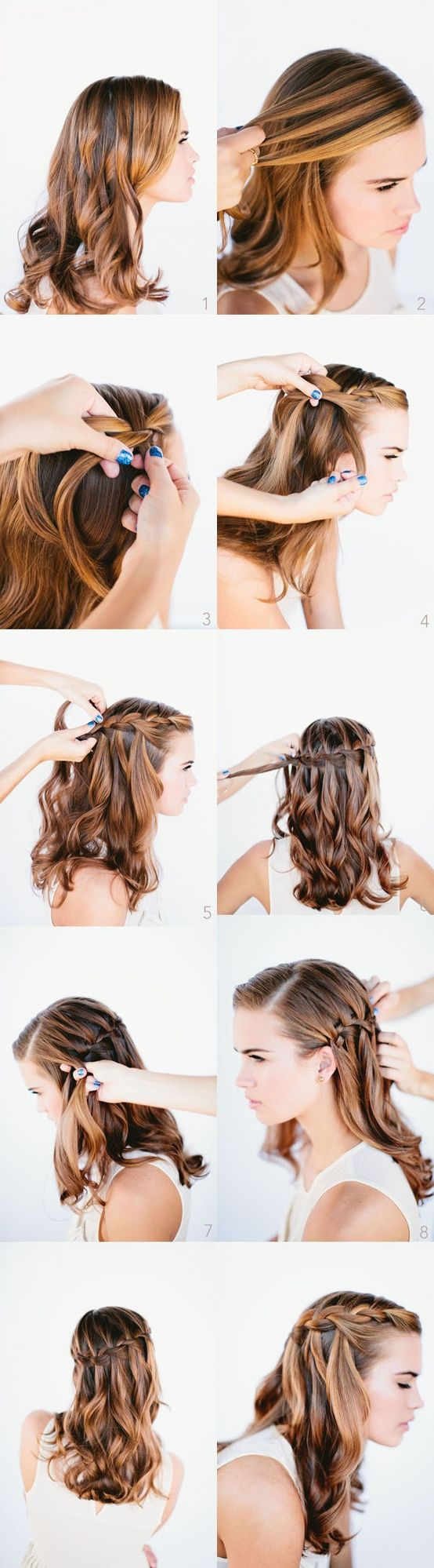 waterfall braid how to. I did this in my sister's hair and it looked amazing especially with her natural highlights. :)