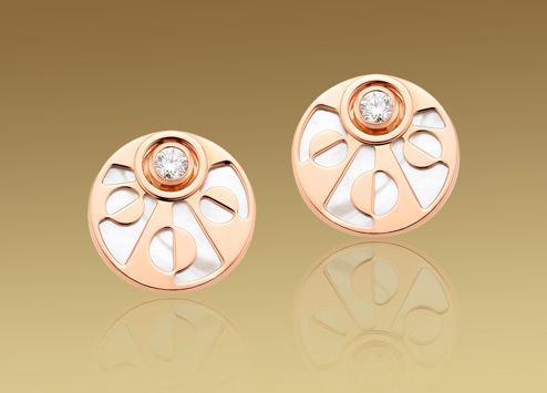 Mediterranean Eden earrings in 18 kt pink gold  with mother of pearl and pavé diamonds