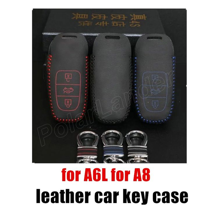 factory price handmade Genuine Leather Car Key Cover Hand Sewing Key Case fit for AUDI A6L A8 high quality #Affiliate