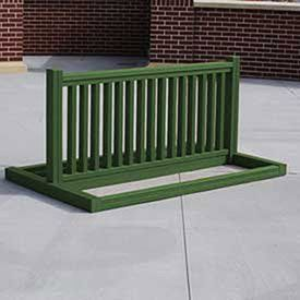 Recycled Plastic Bike Rack, 6-10 Bikes, Green. Our Bike Rack Is Solid And Sleek. It is designed to hold 6-10 bikes and it can hold bikes on both sides. The slats are carefully spaced to maximize capacity and to allow for the most common bike locks on the market. Heavy duty zinc coated hardware standard. Ships partially assembled.
