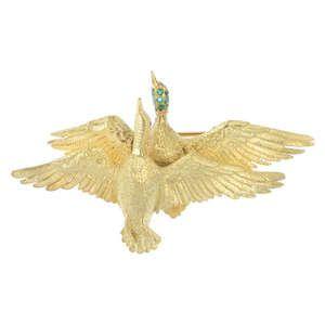 LOT:378 | HERMES - bird brooch.