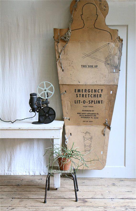 ON SALE  Vintage Industrial Medical Stretcher / Moonrise Kingdom, Rare Find, Halloween Decor, Target
