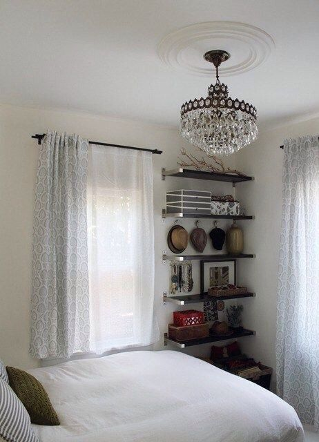 Small Bedroom Ideas- love the shelving to save space. Use of all white, adds to the idea of space.
