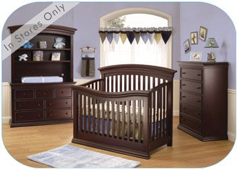 Torino Collection by Sorelle In Espresso. This is the Crib and Dresser we bought. We didn't get the hutch or the 5 drawer dresser on the right. You can see why I think the detail on the skirt would be lost on this crib...
