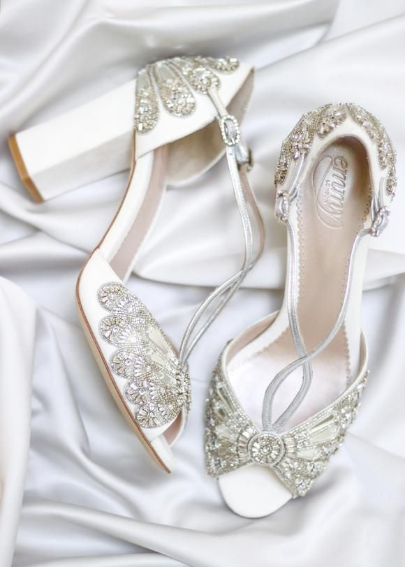 Cinderella Block Heel Bridal Shoes Ivory Suede Embellished Wedding