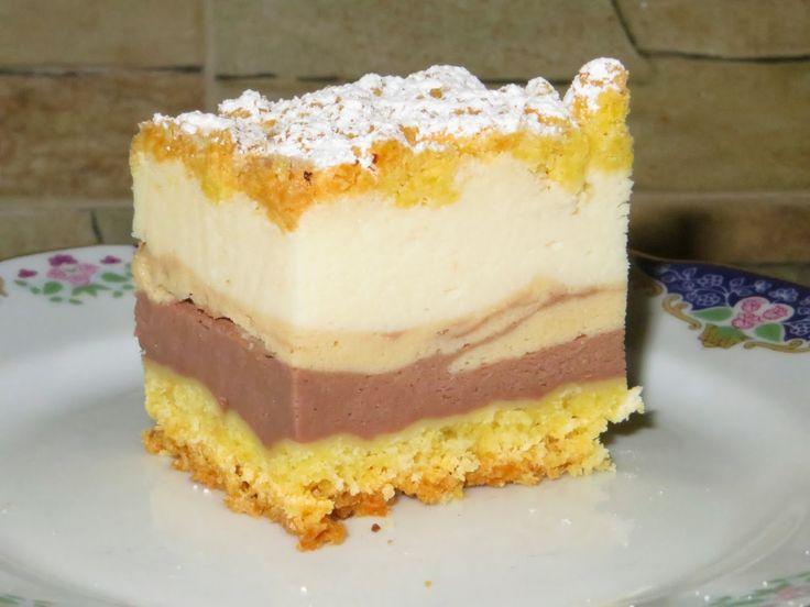 """Domowe ciasta i obiady: Sernik """"3 smaki"""" ze śmietany 18%"""