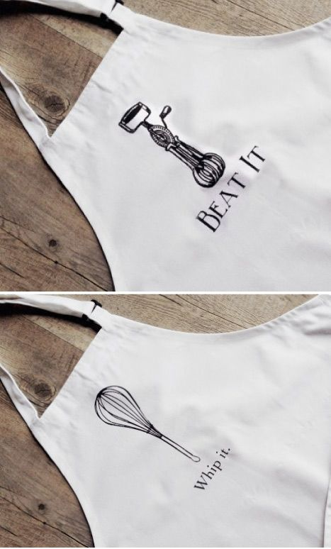 Protect your clothes with these 80's inspired aprons.