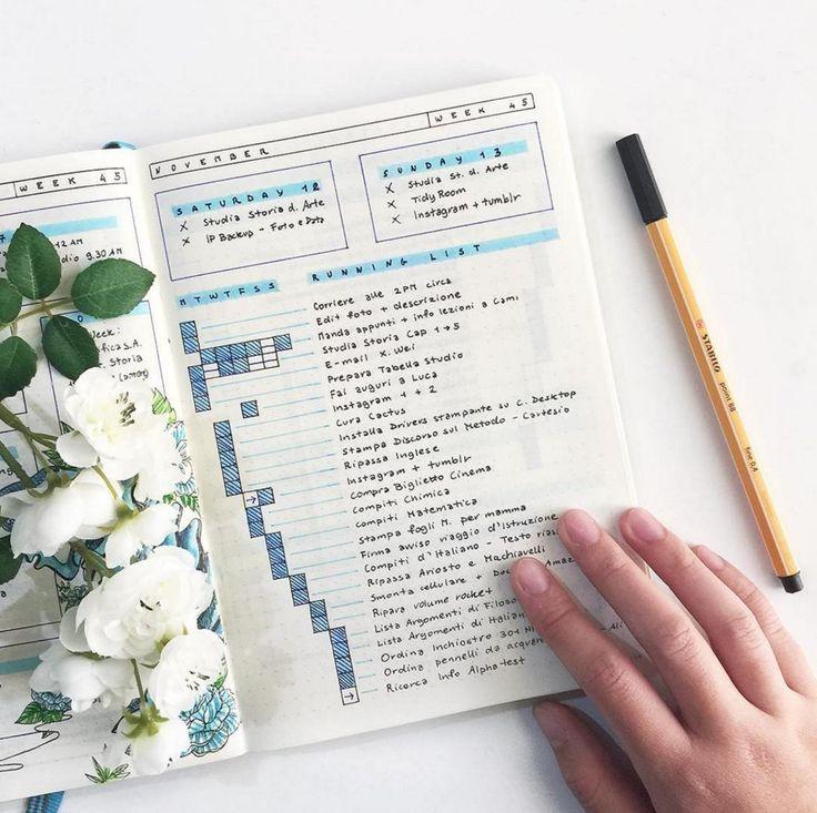 Bullet Journal Weekly Running List by @bluelahe