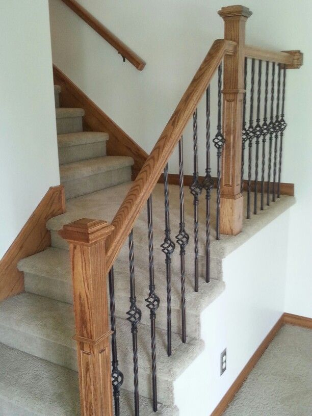 Best New Woodwork Solid Oak Railings Wrought Iron Balusters 640 x 480