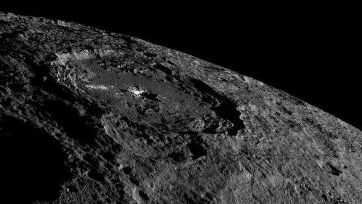 A sonda Dawn, da NASA, capturou imagens incríveis do planeta anão Ceres, incluindo a cratera Occator e seus pontos brilhantes.